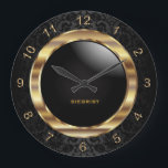 "Elegant Black Damask Design Large Clock<br><div class=""desc"">Decorative Clock in a black damask background with faux gold metal accents. 100% Customizable. Ready to Fill in the box(es) or Click on the CUSTOMIZE IT button to change, move, delete or add any of the text or graphics. Made with high resolution vector graphics for a professional print. NOTE: (All...</div>"