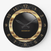 Elegant Black Damask Design Large Clock