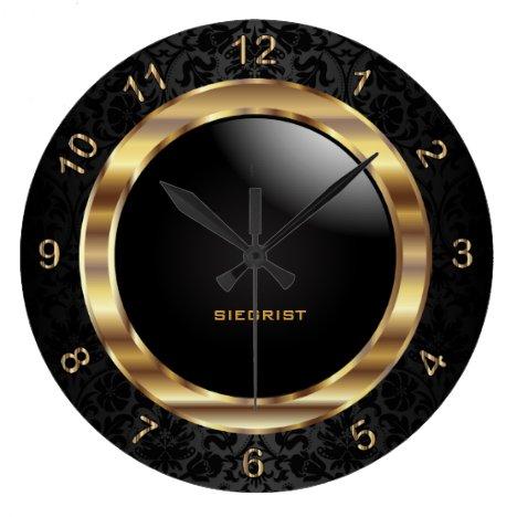 Elegant Black Damask Design Large Clock