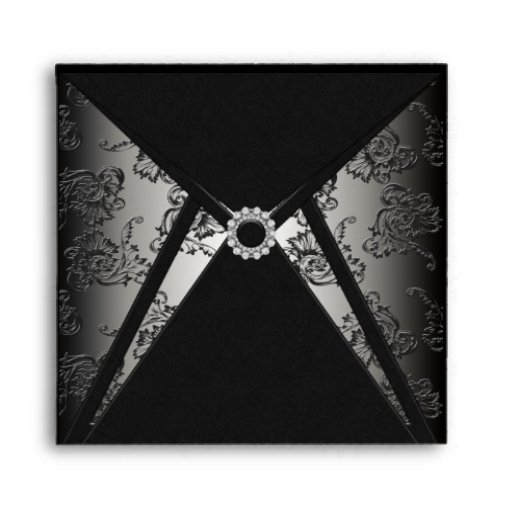 Elegant Black Damask Diamond Square Envelope
