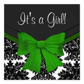 Elegant Black Damask Emerald Green Baby Shower Card