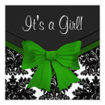 Elegant Black Damask Emerald Green Baby Shower Personalized Announcements