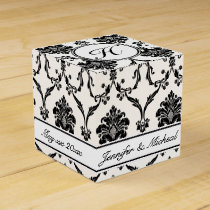 Elegant Black Damask Favor Box with Custom Name