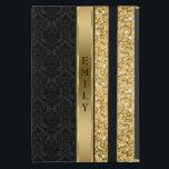 """Elegant Black Damask Gold Glitter iPad Mini Case<br><div class=""""desc"""">Monogrammed elegant black floral damask pattern and gold sparkling glitter with gold stripe</div>"""