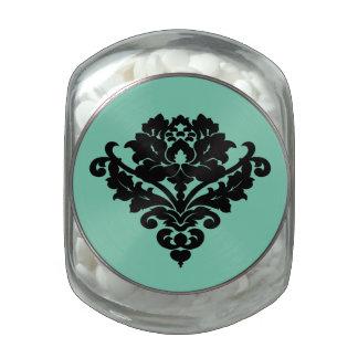 Elegant black damask motif on mint glass jar