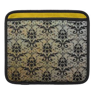 Elegant Black Damask on Stamped Metal Texture Look iPad Sleeve
