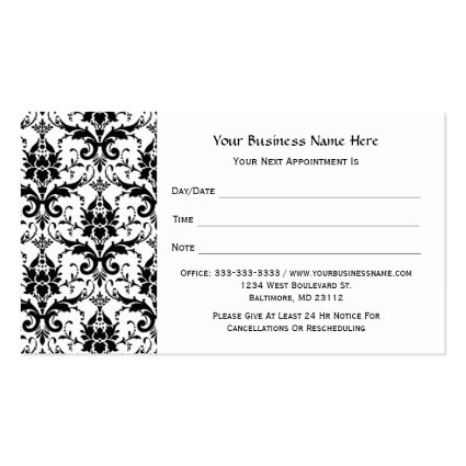Elegant Black Damask Pattern Salon Appointment Business Card Templates