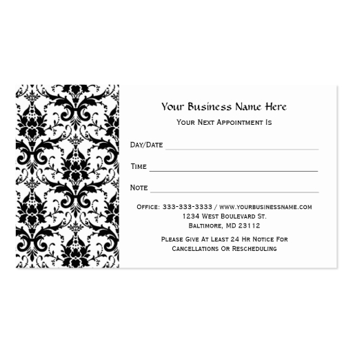 Salon appointment template elegant black damask pattern salon appointment double sided standard flashek Choice Image