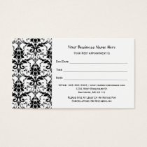 Elegant Black Damask Pattern Salon Appointment Business Card