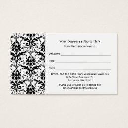 Elegant Black Damask Pattern Salon Appointment Business Card