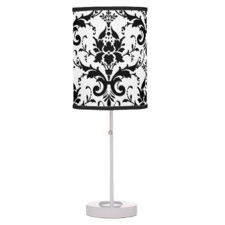 Elegant Black Damask Pattern Table Lamp