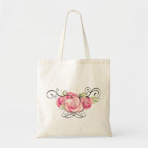 Elegant Black Damask Pink Floral Wedding Favor Tote Bags