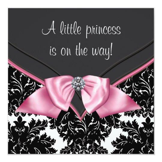 Elegant Black Damask Princess Baby Shower Card