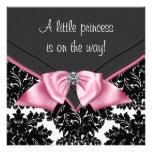 Elegant Black Damask Princess Baby Shower Invites