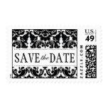 Elegant Black Damask Save the Date Postage