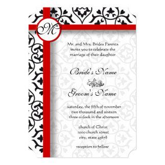 Elegant Black Damask Side Borders Red Trim Wedding Card