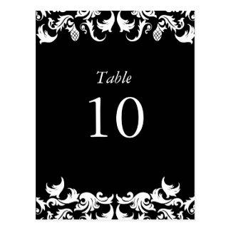 Elegant Black Damask Table Numbers Postcard