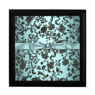 Elegant Black Damask Teal Blue Keepsake Gift Box