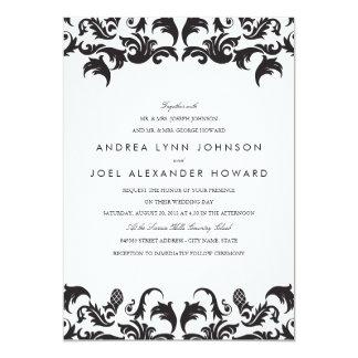 Perfect Elegant Black Damask Wedding Invitation