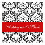 Elegant Black Damask Wedding Invitation Red