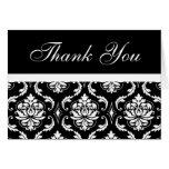 Elegant Black Damask Wedding Monogram Thank You Cards
