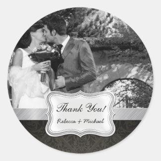 Elegant Black Damask Wedding Photo Thank You Classic Round Sticker