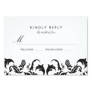 Elegant Black Damask Wedding RSVP 3.5x5 Paper Invitation Card