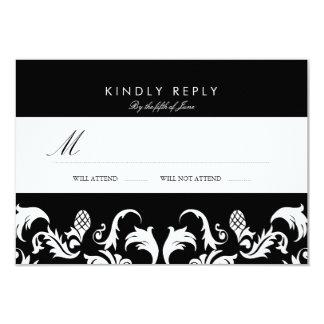 "Elegant Black Damask Wedding RSVP 3.5"" X 5"" Invitation Card"