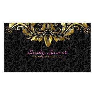 Elegant Black Damasks Gold Floral Lace 2 Business Cards