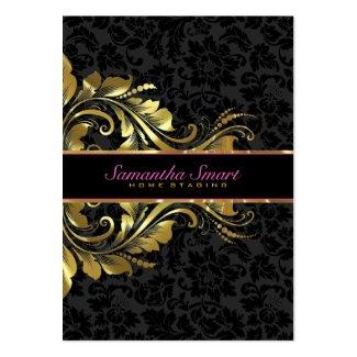 Elegant Black Damasks Gold Floral Lace Large Business Cards (Pack Of 100)