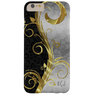 Elegant Black Damasks Gold & Silver Swirls Barely There iPhone 6 Plus Case