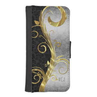 Elegant Black Damasks Gold & Silver Swirls iPhone SE/5/5s Wallet