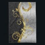 "Elegant Black Damasks Gold &amp; Silver Swirls Kitchen Towel<br><div class=""desc"">Black floral damasks with metallic gold and silver combination floral swirls.</div>"