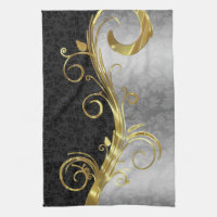 Elegant Black Damasks Gold & Silver Swirls Kitchen Towel