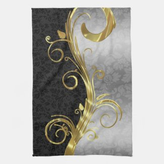 Elegant Black Damasks Gold & Silver Swirls