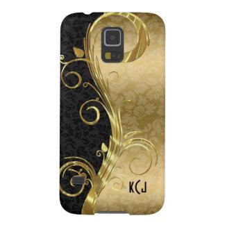 Elegant Black Damasks Gold Swirls Galaxy S5 Cases
