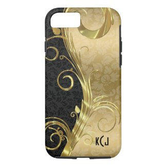 Elegant Black Damasks Gold Swirls