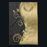 """Elegant Black Damasks Gold Swirls Kitchen Towel<br><div class=""""desc"""">Black floral damasks with metallic gold floral swirls.</div>"""