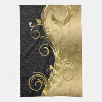 Elegant Black Damasks Gold Swirls Kitchen Towel