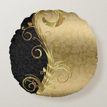 Elegant Black Damasks Gold Swirls Round Pillow