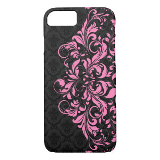 Elegant Black Damasks & Pink Lace iPhone 7 Case