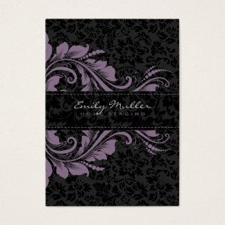 Elegant Black Damasks & Purple Floral Ornament Business Card