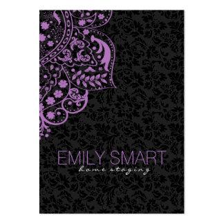 Elegant Black Damasks Purple Vintage Lace Large Business Card