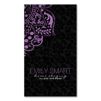 Elegant Black Damasks Purple Vintage Lace Magnetic Business Card