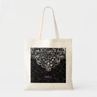Elegant Black Damasks Silver Metallic Vintage Lace Budget Tote Bag