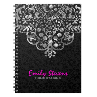 Elegant Black Damasks Silver Metallic Vintage Lace Spiral Notebook