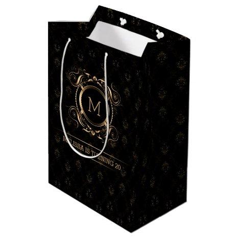 Elegant Black Damasks With Gold Frame Medium Gift Bag
