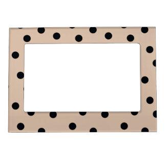 Elegant Black Dots on Beige Magnetic Frame