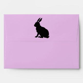 Elegant Black Easter Bunny Silhouette Pretty Pink Envelope