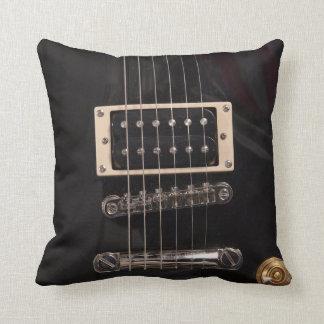 Elegant Black Electric Guitar Strings Throw Pillow